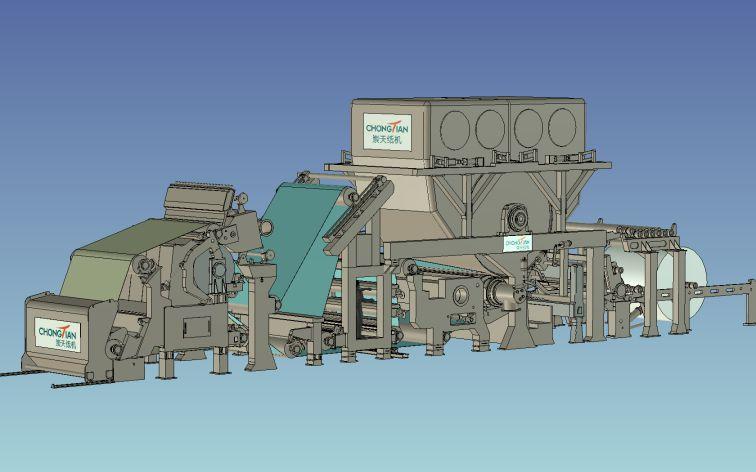 新月型卫生纸机3D图